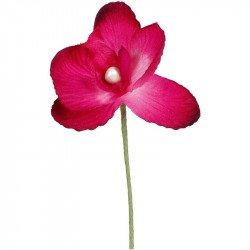 Orchidées tissu avec tige (x6)