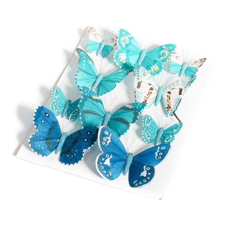 Papillons degradé de bleu 5 et 8 cm (x10)