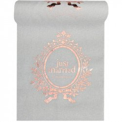 "Chemin de table en lin ""Just Married"" rose gold - 3M"