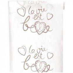 """Chemin de table """"la vie est belle"""" - Blanc"""