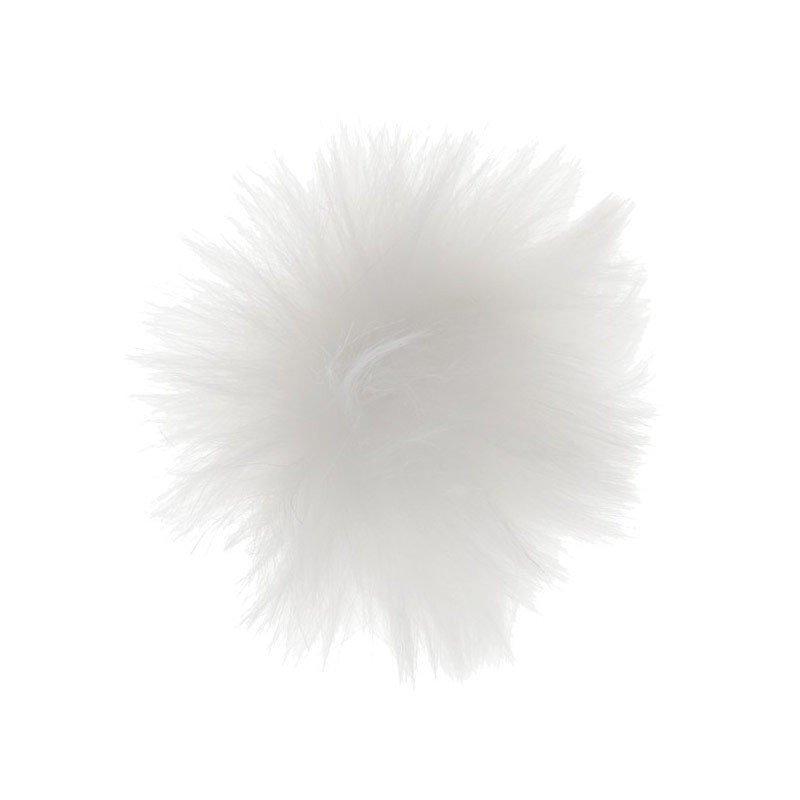 Pompon fourrure blanche (x4)