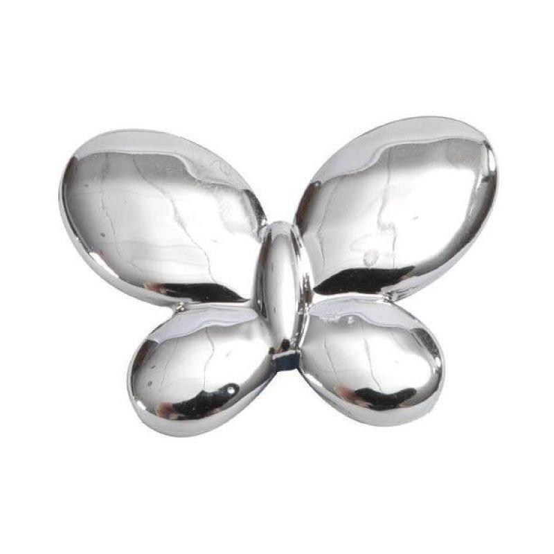 Papillon métal brillant argent (x12)