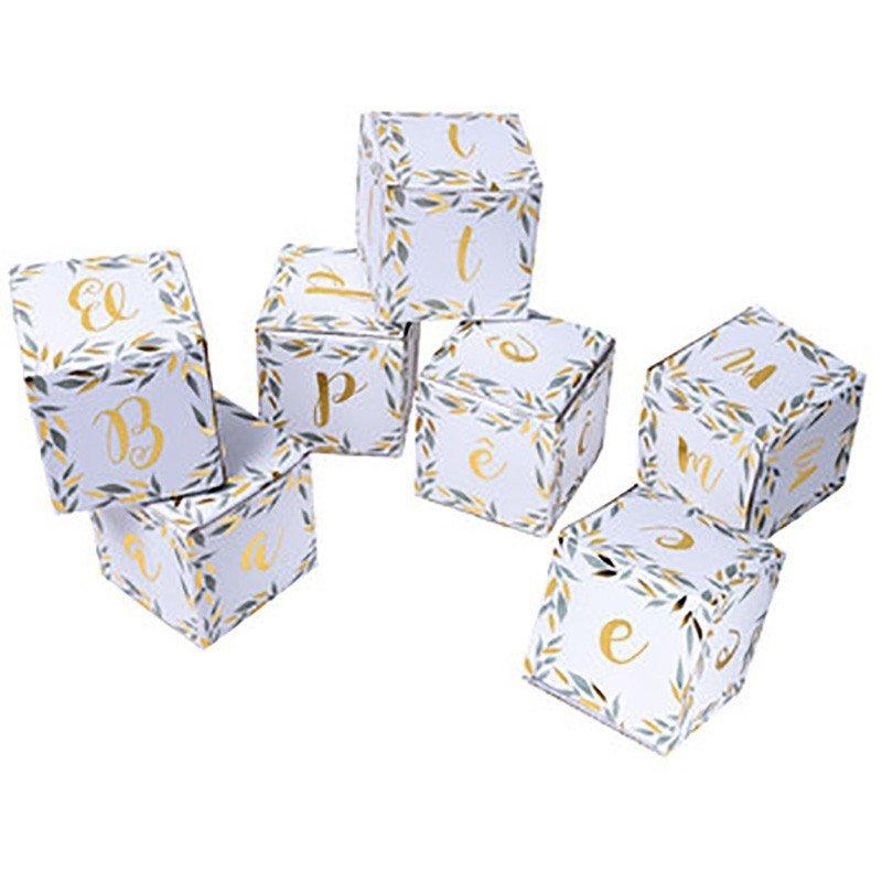 """Cubes déco feuillage """"Baptême"""" (x7)"""