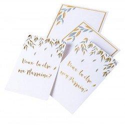 """Cartes et enveloppes  """"parrain/marraine"""" (x2)"""