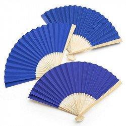 Éventail en bambou - Bleu