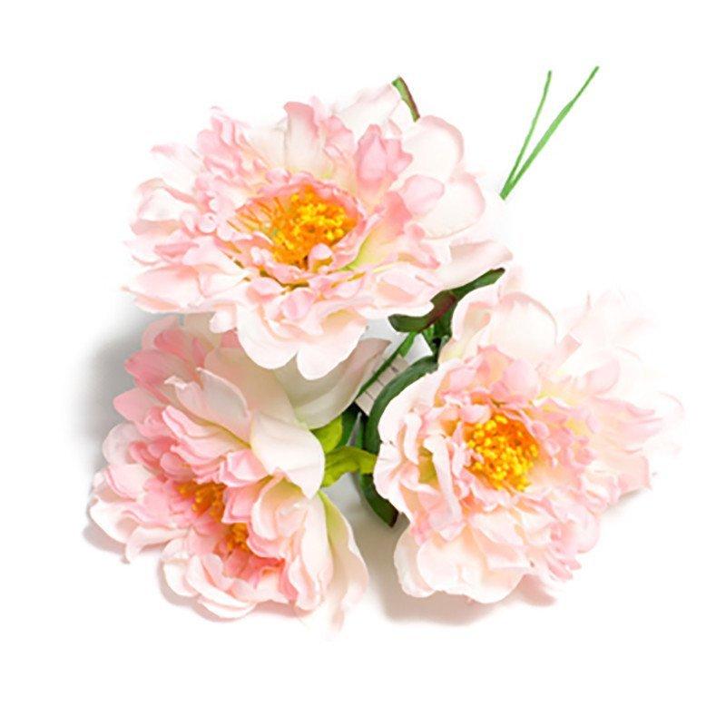 Bouquet de 3 pivoines roses - 12 cm