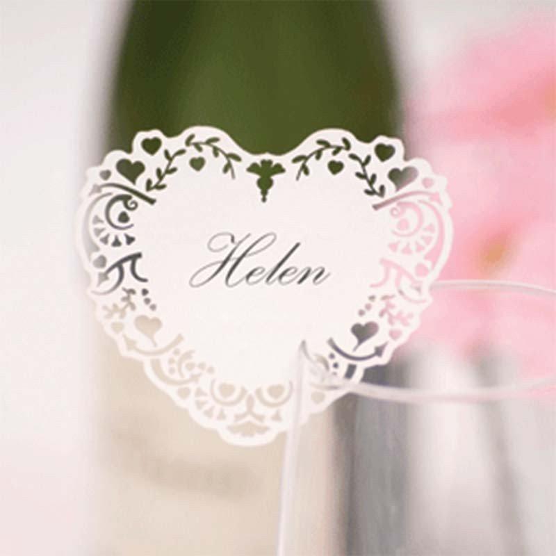 Marque-places coeur pour verre (x10)