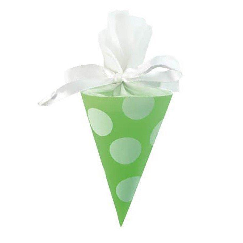 Cornet vert à pois blanc (x6)