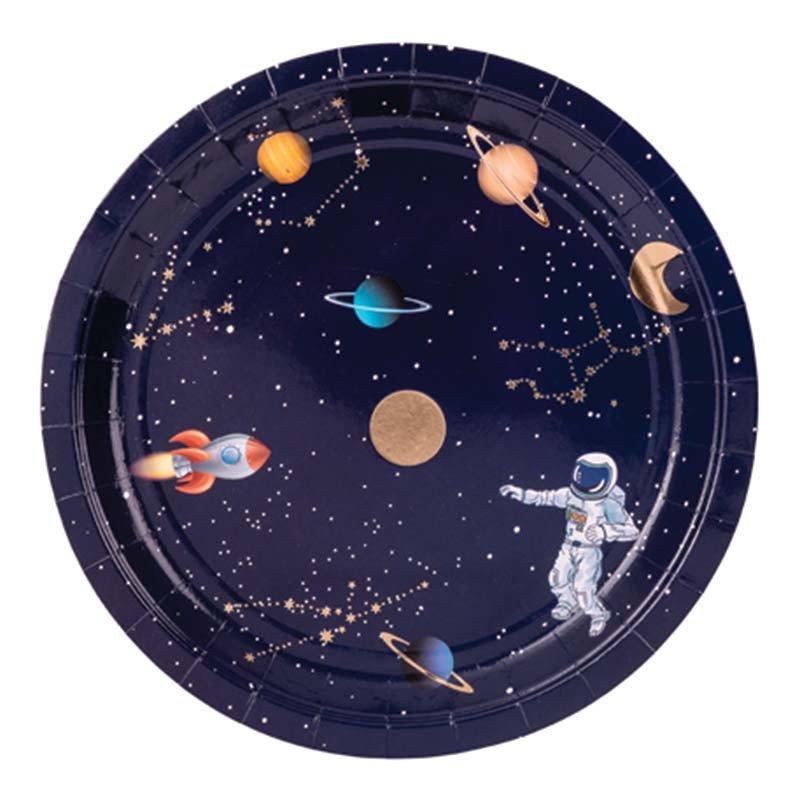Assiettes astronaute bleu nocturne (x8)