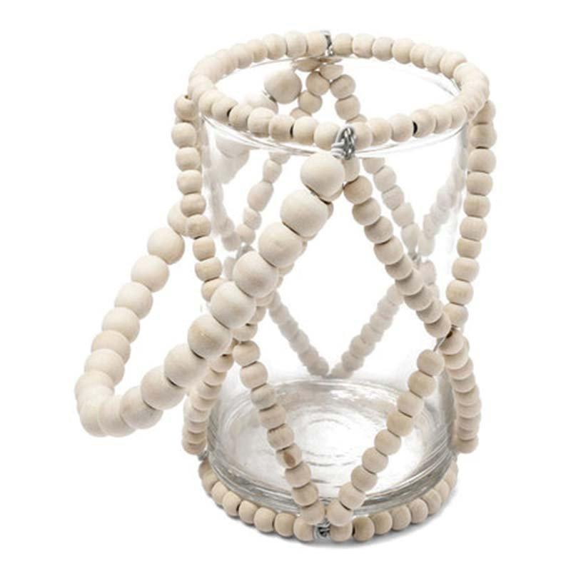 Photophore en verre perles ivoires 13 cm