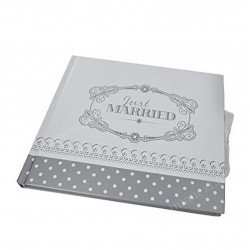 "Livre d'or vintage ""Just Married"" argent"