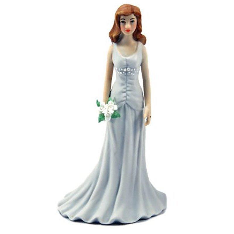 Figurine jeune mariée bouquet de fleur