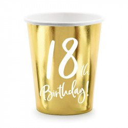 """6 Gobelets dorés  """"18 ans"""""""