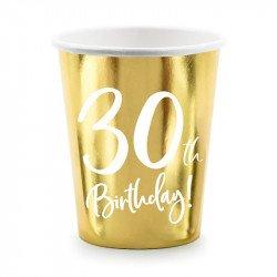 """6 Gobelets dorés """"30 ans"""""""