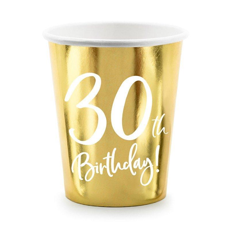 "6 Gobelets doré ""30 ans"""