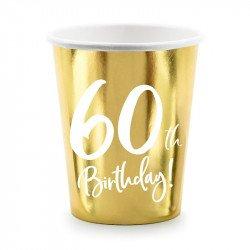 """6 Gobelets dorés """"60 ans"""""""