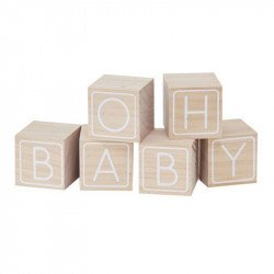 Cubes bois lettre  « Oh Baby » (x6)