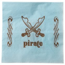 Serviette Pirate Bleu (x20)