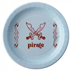 Assiettes Pirate bleu (x6)