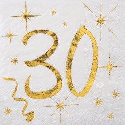 """20 Serviettes """"30 ans"""" blanches et dorées"""