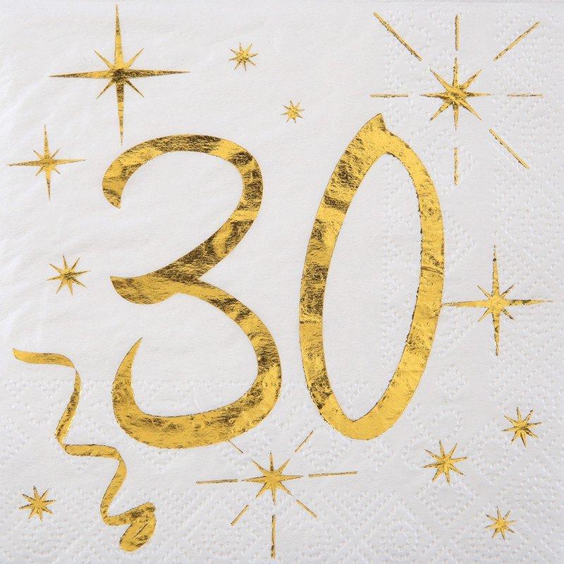 20 Serviettes papier blanche et dorée 30 ans