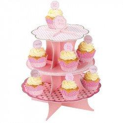 Moule à cupcake avec message sur un support à cupcake 3 étage