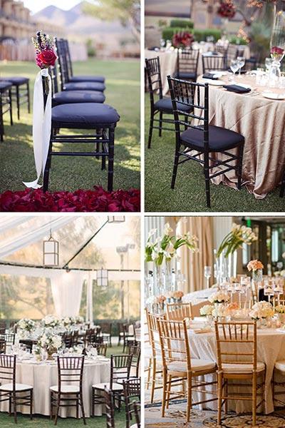 Les chaises chiavari en bois foncé ou clair