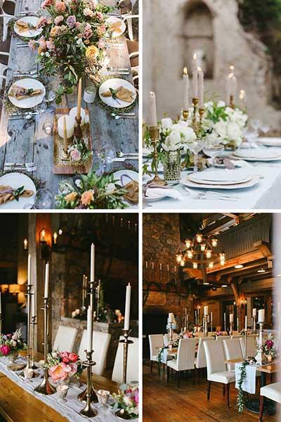Décoration de table bohème avec beaucoup de bougeoirs dorés et longues bougies colorées