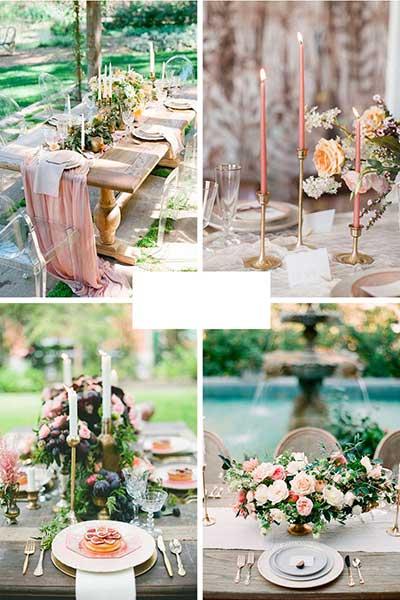Déco de table de communion rose poudrée et or avec beaucoup de bougeoirs et longues bougies