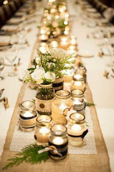 Bougies pour déco de table rustique