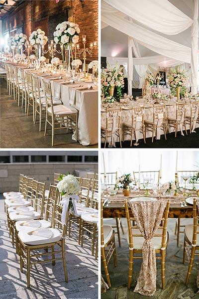 Les chaises Chiavari dorées ou argentées
