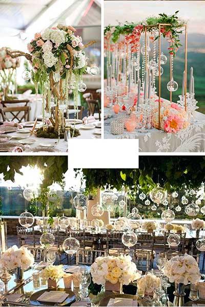 Décoration de table avec bougeoirs originaux : suspendus et sur la table