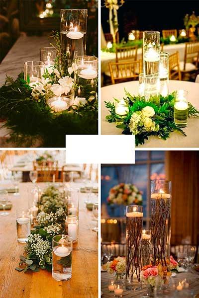 Centres de table champêtre avec feuillages