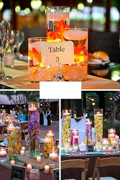 Centres de table colorés originaux citrons et fleurs immergées