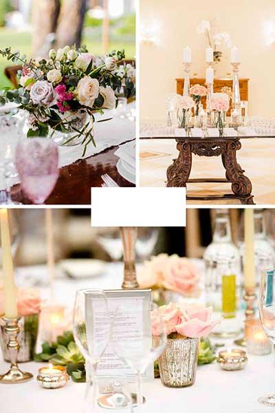 Bougeoirs mercurisés vintage pour déco de table rose poudrée argent