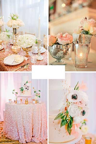 Déco de table avec bougeoirs et coupes rose gold