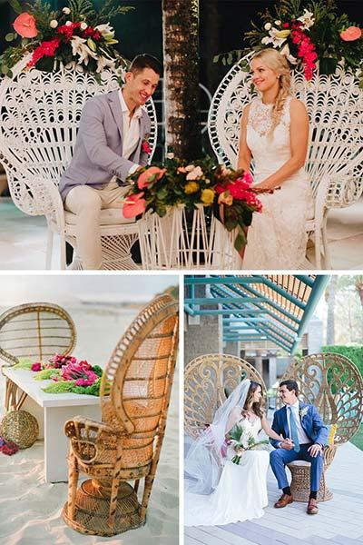 Des chaises de mariés en forme de paon en rotin