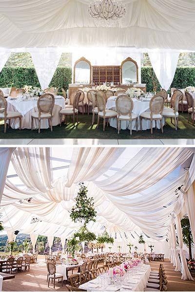 Un mariage classique rustique sous une tente