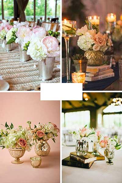 Déco de table rose poudrée argent ou rose et or