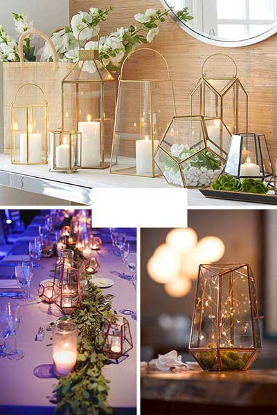 Des lanternes avec des bougies en déco de sol extérieures