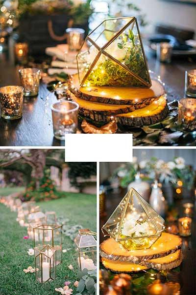 Lanternes centre de table et guirlande lumineuse