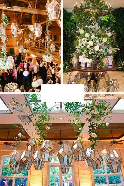 Idées de décorations de mariage avec lanternes en verre effet miroir