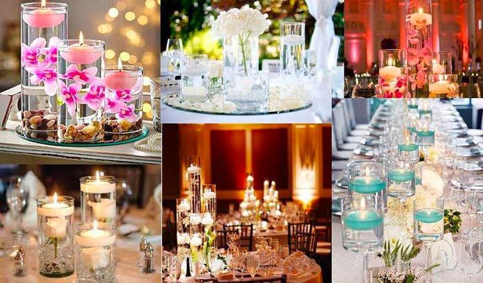 Bougies flottantes grands formats, centre de tablemariage originale, bougies flottantes dans vase en verre de differentes tailles
