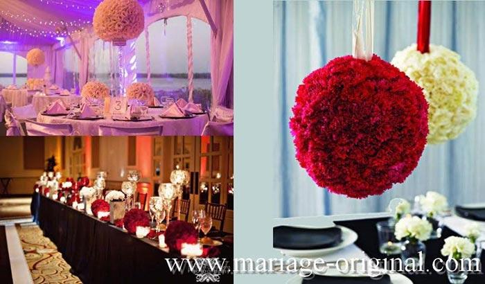 boules de fleurs geantes rouges centre de table