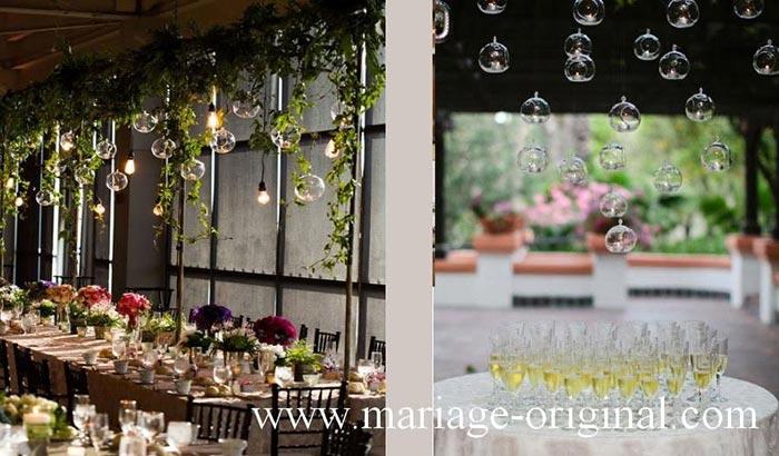 Boule en verre a suspendre dessus des tables, decor centre table mariage original