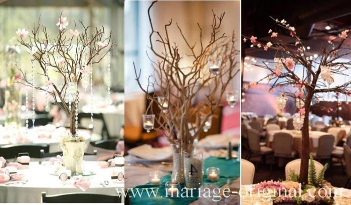 centre de table arbre, branche photophore, diamant,