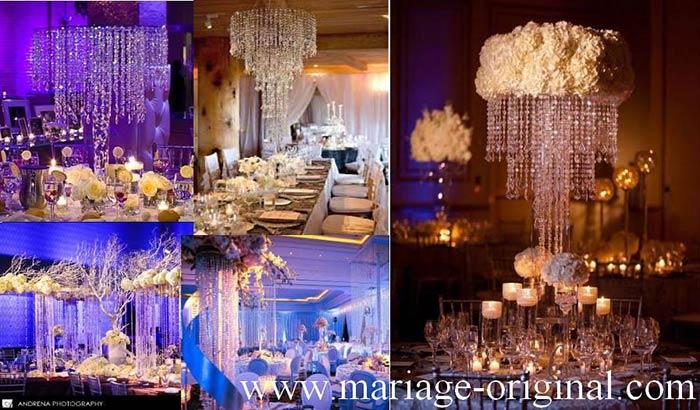 centre de table mariage theme princesse, theme diamant, lustre de table, guirlande de perles, decor plafond dessus table