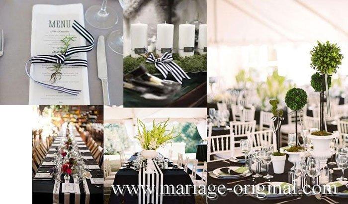 accessoire decoration mariage rayure noir et blanche, mariage tout en rayure,