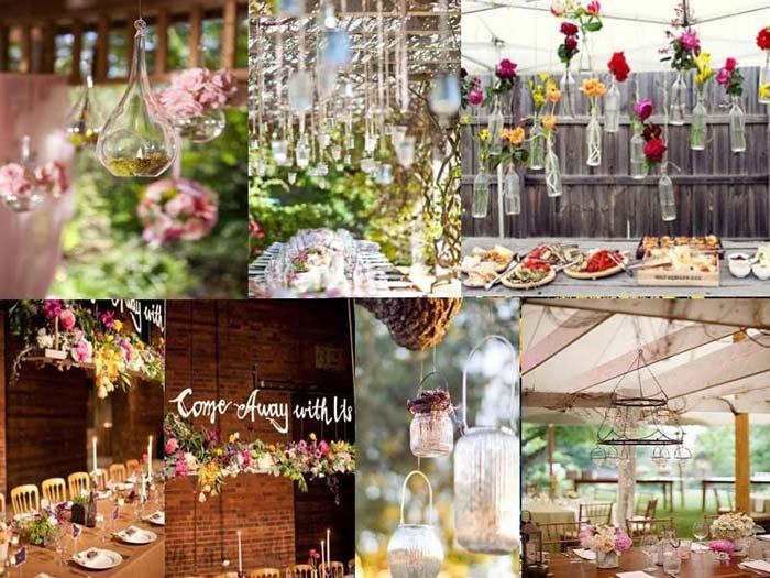 centre table mariage, decors en suspensions dessus des tables des invites, photophores conniques, boules en verres