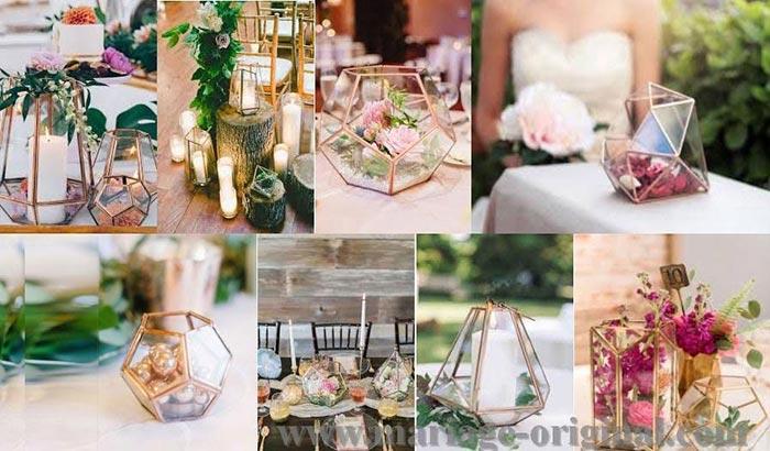 centre table en verre, bocal en verre forme originale, terrarium en verre dore